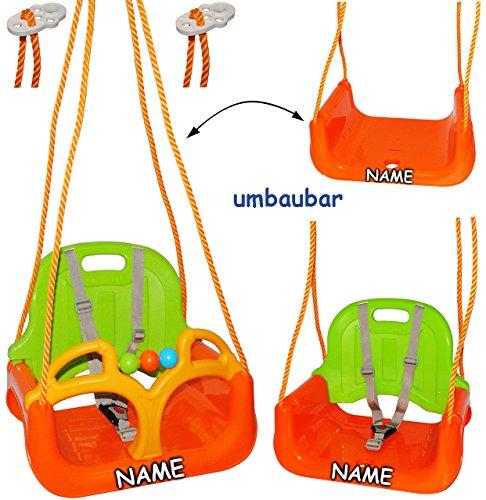 alles-meine.de GmbH 3 in 1 : Babyschaukel - MITWACHSEND - incl. Name - Gitterschaukel - Schaukel für Kinder - Innen und Außen / Garten - für Baby´s Kinder aus Kunststoff / Plasti..