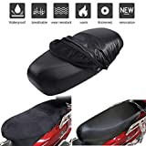 Motorbike Seat Cover Leather Waterproof Dust UV For Summer, Velvet Warm Soft for Winter Double Sided Cushion Cover Protector with Elastic Band and Hook Loop Protection for Motorcycle Scooter Seat
