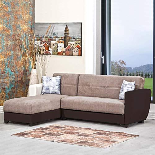 Enrico coveri contemporary divano letto 3 posti con penisola in ecopelle e tessuto con contenitore salvaspazio + 2 cuscini mod. cornery (marrone/beige)