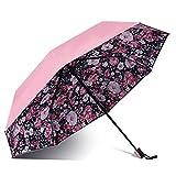 XCWQ Regenschirm Doppelter Blumenregenschirm, Der Sonnigen Regenschirmregenfrau DREI des Lichtschutzes Faltenden Weiblichen Prinzessin Parasol Beschichtet -