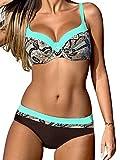 Yuson Girl Bikini Sets Damen, Bademode Push up Bikinis Sexy Badeanzug Bikinis für Frauen (DE44, Stil 3:Hellblau)