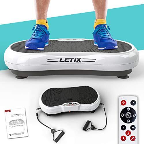 Letix Sports Profi Vibrationsplatte VS-200D mit Wipp-Vibration + Bluetooth Musik inkl. Lautsprecher, große Standfläche + Expanderbänder und Fernbedienung (weiß)