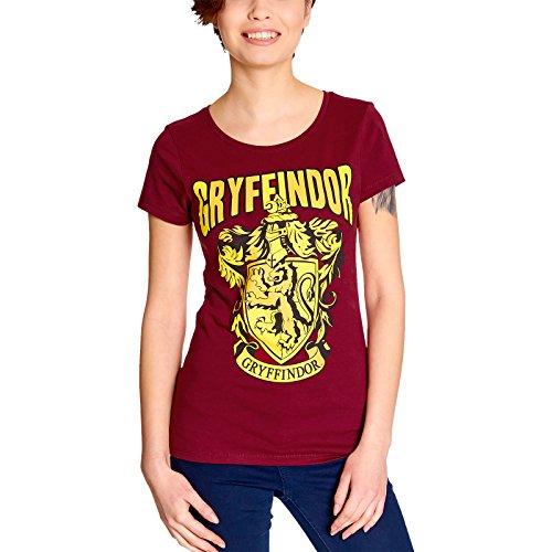 Elbenwald Harry Potter Damen T-Shirt Gryffindor Wappen Baumwolle rot - M