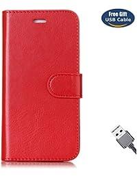 Funda Galaxy S5,Funda Cover Galaxy S5,Aireratze Slim Case de Estilo Billetera Carcasa Libro de Cuero,Carcasa PU Leather Con TPU Silicona Color básico [Imán versátil versátil de la caja de diseño 2 en 1] Case Interna Suave [Función de Soporte] [Ranuras para Tarjetas y Billetera] [Cierre Magnético] para Samsung Galaxy S5 (rojo) (+ Cable USB)