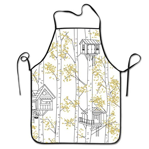 BetterShopDay Aprons Kitchen Chef Bib Treehouses Adjustable Ties for Kitchen Cooking Baking Gardening 20.4