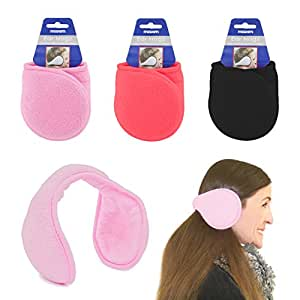 Ear Muffs Wrap around Winter Warmers soft Fleece UKayed ® Winter Warm Ears Various Colour (Red)