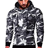 MRULIC Herren Langarm Camouflage Hoodie Sweatshirt Tops Oberbekleidung Kapuzenpulli mit Taschen RH-014(C-Dunkelgrau,EU-46/CN-L)