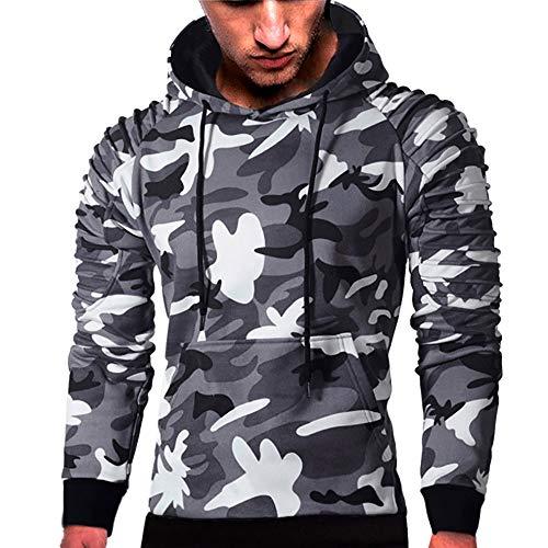 MRULIC Herren Langarm Camouflage Hoodie Sweatshirt Tops Oberbekleidung Kapuzenpulli mit Taschen RH-014(C-Dunkelgrau,EU-52/CN-3XL)