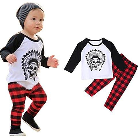 Amlaiworld Niños bebés Impreso camiseta tops + Pants equipos fijó