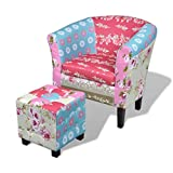 XINGLIEU Relaxsessel Sessel mit Fußhocker Patchwork Design Fernsehsessel Stoff Wohnzimmersessel 68 x 60 x 70 cm