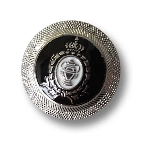 Set klassisch elegante gewölbte schwarz weiß silberfarbene Blazerknöpfe aus Metall mit Krone, Pokal & Lorbeerkranz und aufwendig verziertem Rand in Kordel Optik / Silberfarben, Schwarz, Weiß / Metallknöpfe / Ø ca. 15mm (Lorbeerkranz Krone Kostüm)