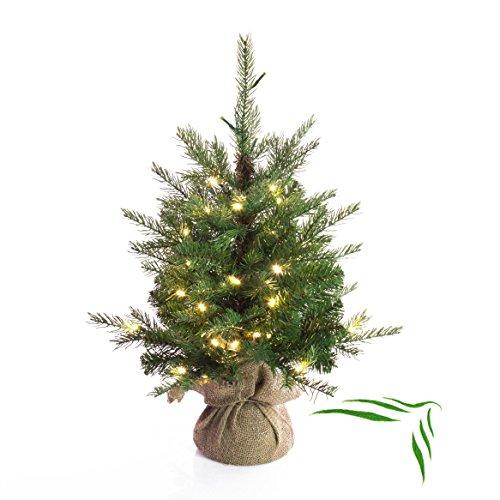 Künstlicher Weihnachtsbaum WELLINGTON mit 35 LED's, 185 Zweige, 60 cm, Ø 50 cm - Kunst Tannenbaum / Deko Christbaum - artplants