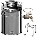 BELVIVERE Contenitore fusto bidone olio Inox 18/10 50 lt made in Italy con rubinetto treppiede con ruote e guarnizione