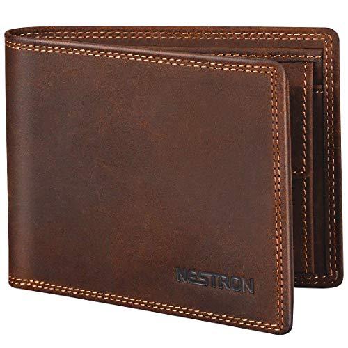 Geldbörse Herren mit Doppelnaht und RFID Schutz, Portemonnaie Männer aus Vintage-Echtleder, Geldbeutel Portmonaise Portmonee Geldtasche Brieftasche von Nestron - Top Leder Geldbörse