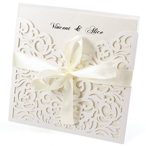 20er Ivory Weiss Einladungskarten Elegant Spitze Design mit Karten, Umschläge, Schleifer, Einlegeblätter OHNE DRUCK Hochzeit Geburtstag Taufe Party Einladung #28