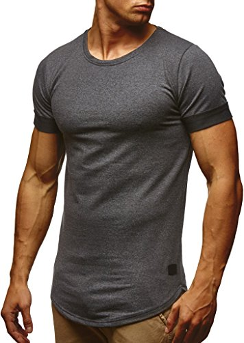 Leif Nelson Herren Sommer T-Shirt Rundhals-Ausschnitt Slim Fit Baumwolle-Anteil | Moderner Männer T-Shirt Crew Neck Hoodie-Sweatshirt Kurzarm lang | LN6368 Anthrazit Large -