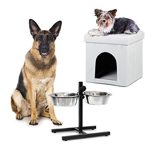2 tlg Set Home Sweet Hund Deluxe XL, Hundebox weiß, Sitzhocker mit Tierhöhle, Doppelnapf höhenverstellbar, - Großer Hund-wasser-station