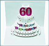 Pop Up 3D Karte Geburtstagskarte 60 Geburtstag Gutschein Torte 16x11cm