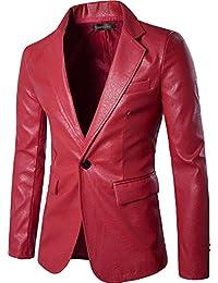 Sportides Herren Faux Leather Fashion Slim Fit One Button Blazer Jacket JZA004