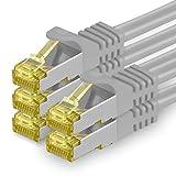 1aTTack.de Cat.7 Netzwerkkabel 5m - Grau - 5 Stück - Cat7 Ethernetkabel Netzwerk LAN Kabel Rohkabel 10 Gb/s (Sftp Pimf) Set Patchkabel mit Rj 45 Stecker Cat.6a