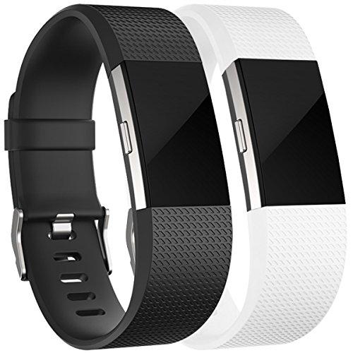 Für Fitbit Charge 2 Armband, HUMENN Charge 2 Armband Weiches Silikon Sports Ersetzerband Fitness Verstellbares Uhrenarmband für Fitbit Charge2 Small Schwarz/weiße (Verstellbare 2)