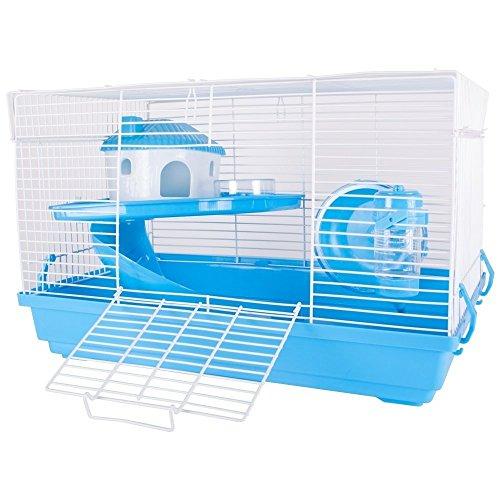 Hamsterkäfig Nagerkäfig Mäusekäfig mit Laufrad, Futterschüssel, Wasserflasche, Häuschen und Rutsche in (Blau) (Hamster Käfig)