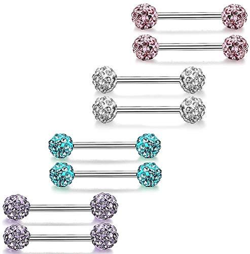 Finrezio 4 Paare 14G Edelstahl Barbell Piercing Für Frauen Männer Zunge Piercing Set Glänzenden Zirkon