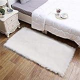 Faux Lammfell Schaffell Teppich ,HEQUN Flauschig Weiche Nachahmung Wolle Teppich Longhair Fell Optik Gemütliches Schaffell Bettvorleger Sofa Matte (Weiß, 150 X 50 CM)