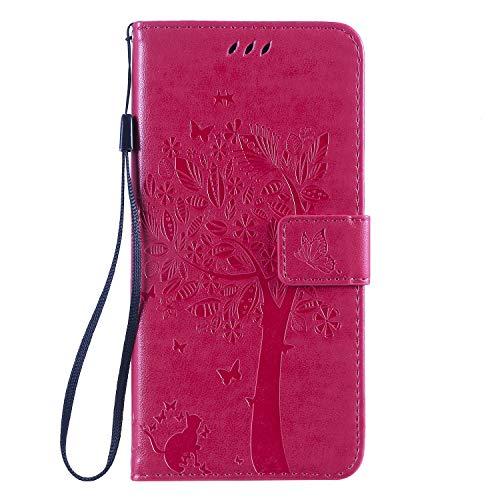 Miagon für Huawei Y6 2018 Geldbörse Wallet Case,PU Leder Baum Katze Schmetterling Flip Cover Klapphülle Tasche Schutzhülle mit Magnet Handschlaufe Strap
