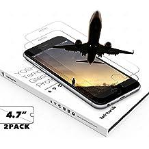 Protector Pantalla Iphone 6 6s 7 (2-Unidades) YOSH® protector cristal vidrio templado (4,7 pulgadas) Alta Definicion(HD) 9H Dureza ✪ Garantía de por vida ✪