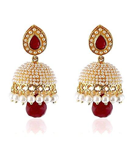 Shining Diva Red Pearl Traditional Jewellery Stylish Fancy Party Wear Jhumka/Jhumki Earrings For Women & Girls