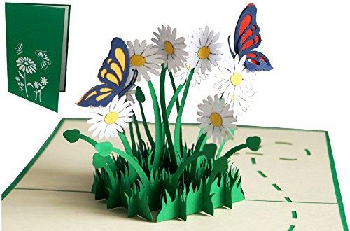 LIN 17554, POP - UP Karten, POP UP Karten Geburtstag, 3D Grußkarten 3D Karte Klappkarte Geburtstagskarte Viel Glück Gute Besserung, Schmetterlinge, Margeriten, N310 3d-karte