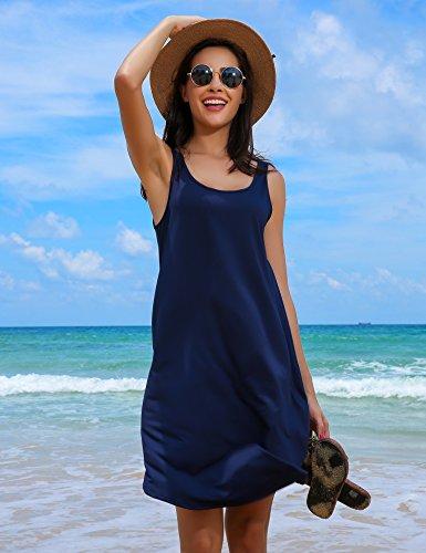 HOTOUCH Damen Mini Kleid Shirtkleid Casual Sommerkleid Stretch Basic Kleider Typ1-Navy Blau