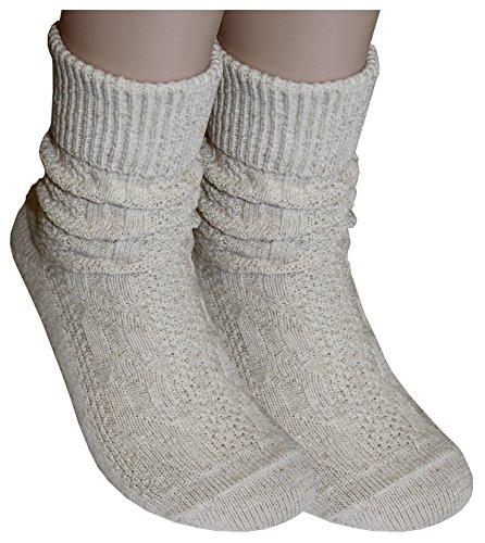 Tobeni 1 Paar Trachtensocken Socken kurz mit Umschlag und Zopfmuster Baumwolle-Leinen meliert für Damen und Herren Farbe Natur Meliert Grösse 39-42 - 3