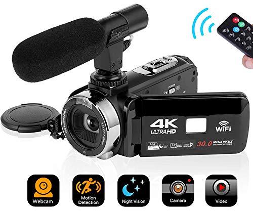 Videocamera 4K Videocamere Wifi con Microfono Fotocamera Digitale Full HD 30.0MP 16X Digitale Zoom Touch Screen da 3,0 Pollici con IR Visione Notturna
