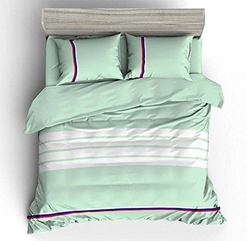 SHIQUNC Streifen Bettbezug Set doppel mit kissenbezüge Quilt Bettwäsche Set königin größe 4 stücke enthalten 1 bettbezug, 1Bed leinen, 2 Kissenbezüge 200 cm x 230 cm, 12, Königin -