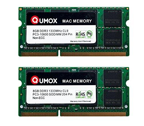 QUMOX PC3-10600 DDR3 SODIMM 16GB 2X 8GB 204-Pin 1333MHz