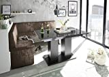 Mystylewood Eckbank Olga Vintage Braun mit Säulentisch Schwarz Küchenbank Sitzecke dick gepolstert Kunstleder pflegeleicht stabiles Holzgestell 142x196L