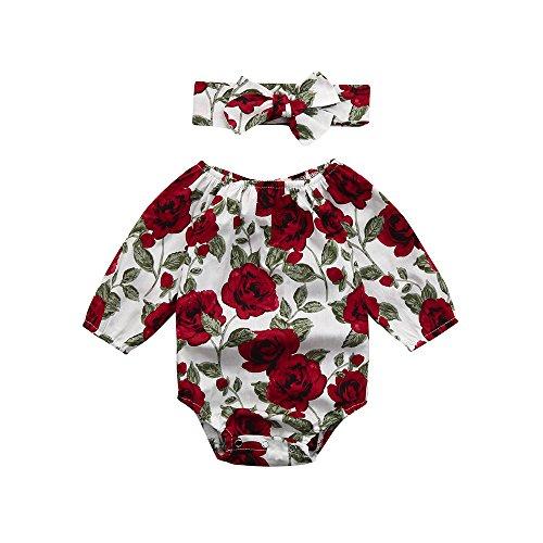 b367b2bdfc27c ❤Ensemble Bébé Fille,2pcs Bébé Filles Floral Bambin Manche de Sept Quarts  Combinaison Barboteuse