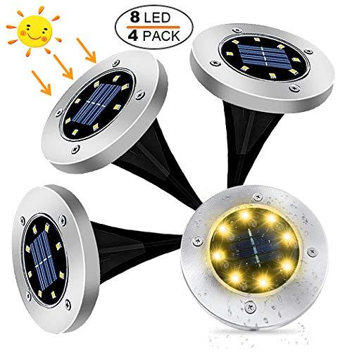 4 Pezzi Lampade da Giardino Solari 8LED Luce 100LM, KDORRKU 600mAh Batteria Integrata Luci solari giardino IP65 Impermeabili Fari Calpestabili per Terreno Esterno Scala Paesaggio Strade Vialetto