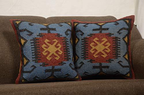 Chouhan Teppich, 2 Stück, indisches handgewebtes Kilim-Kissenbezug, 45,7 x 20,3 cm, Jute Kissen, Ethnische Dekoration, Teppich Boho-Shams -
