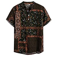 ♛2019 Clearance Sale♛ - Chamery Summer Shirt for MenMens Ethnic Short Sleeve Casual Cotton Linen Printing Hawaiian Shirt Blouse(Green,M)