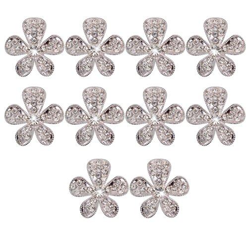 Botones De Diamantes De Imitaciš®n De Cristal De Flores Phenovo Artesanšªa Bricolaje Adornos De Plata