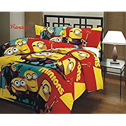 Renown Minions Cartoon Kids Design Print Reversible Single Bed AC Blanket / Dohar