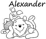 personalisiertem Namen Wandaufkleber Winnie the Pooh und Piglet Vinyl Aufkleber Aufkleber Jungen Kinderzimmer Schlafzimmer Room Decor Home Spielzimmer Art Wandmalereien (mn542), Vinyl, 48cmTall x 55cmWide