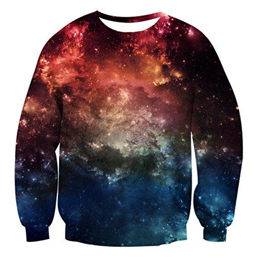 Uideazone Unsiex Pullover Sweatshirt Sweatshirt mit Reißverschluss und Kapuze Galaxy-1