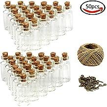 Goodlucky365(50pcs) 5ml Mini Botellas de Cristal Con Tapón de Corcho Pequeñas Botellas Frascos de Vidrio, 50 Piezas Tornillos de Ojo y Cordel de 30Metros Botellas de Mensajes