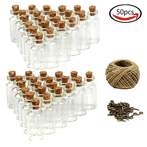 Goodlucky365 (50pcs) 5 ml Mini Botellas de Cristal Con Tapón de Cor