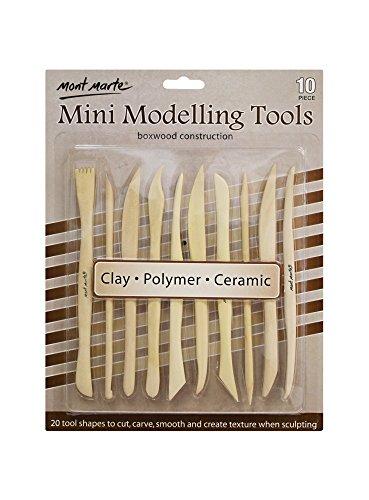Mont Marte Modellier-Werkzeug aus Holz - 10 Doppelseitige Sculpting Werkzeuge in verschiedenen Formen - Ideal für das Bearbeiten von Ton - Perfekt geeignet für Anfänger, Profis und Künstler - Ton Formen