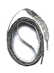 SNORS flache Schnürsenkel SILBER 130cm, 7-8mm, reißfest, Polyester, Made in Germany für Sportschuhe Sneaker Turnschuhe und Laufschuhe - ÖkoTex